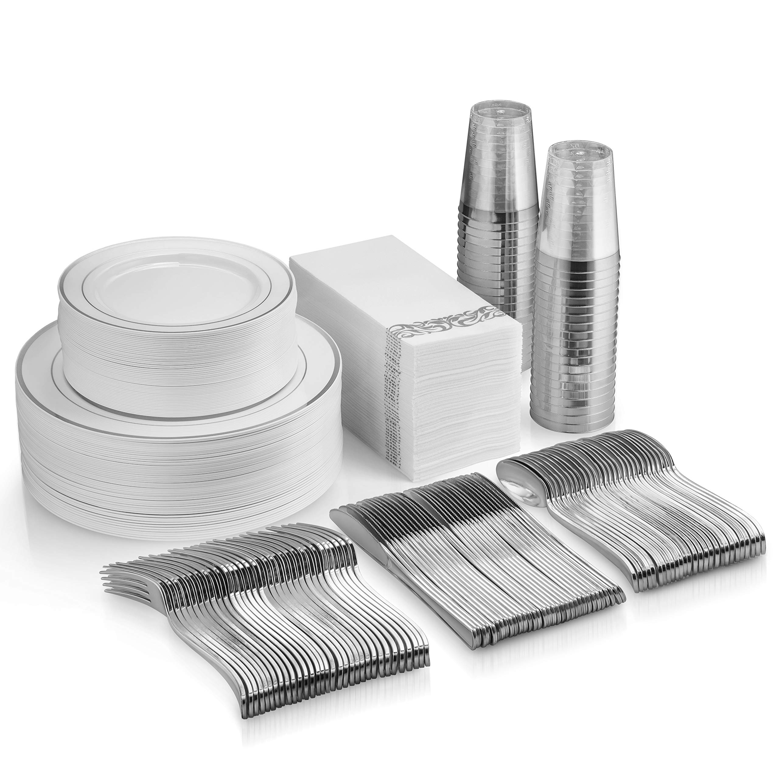 350 Piece Silver Dinnerware Set - 100 Silver Rim Plastic Plates - 50 Silver Plastic Silverware - 50 Silver Plastic Cups - 50 Linen Like Silver Paper Napkins, 50 Guest Disposable Silver Dinnerware Set by Munfix