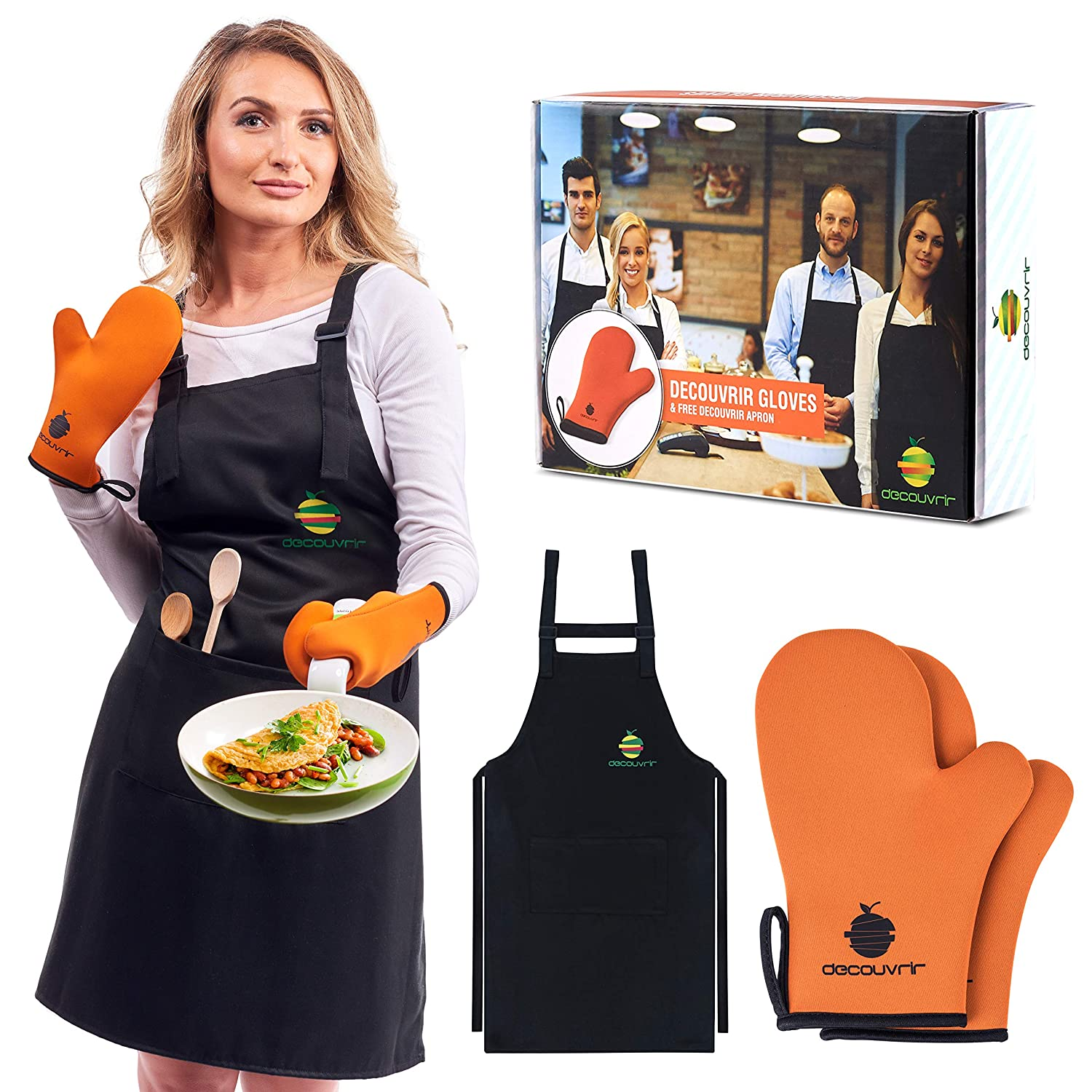 Neoprene Oven Mitts Apron Set| High Temperature Heat-Resistant Kitchen Mittens for Men and Women Perfect Cooking, Baking, Grilling + Adjustable Black Bib Apron + eBook with Delicious Recipes