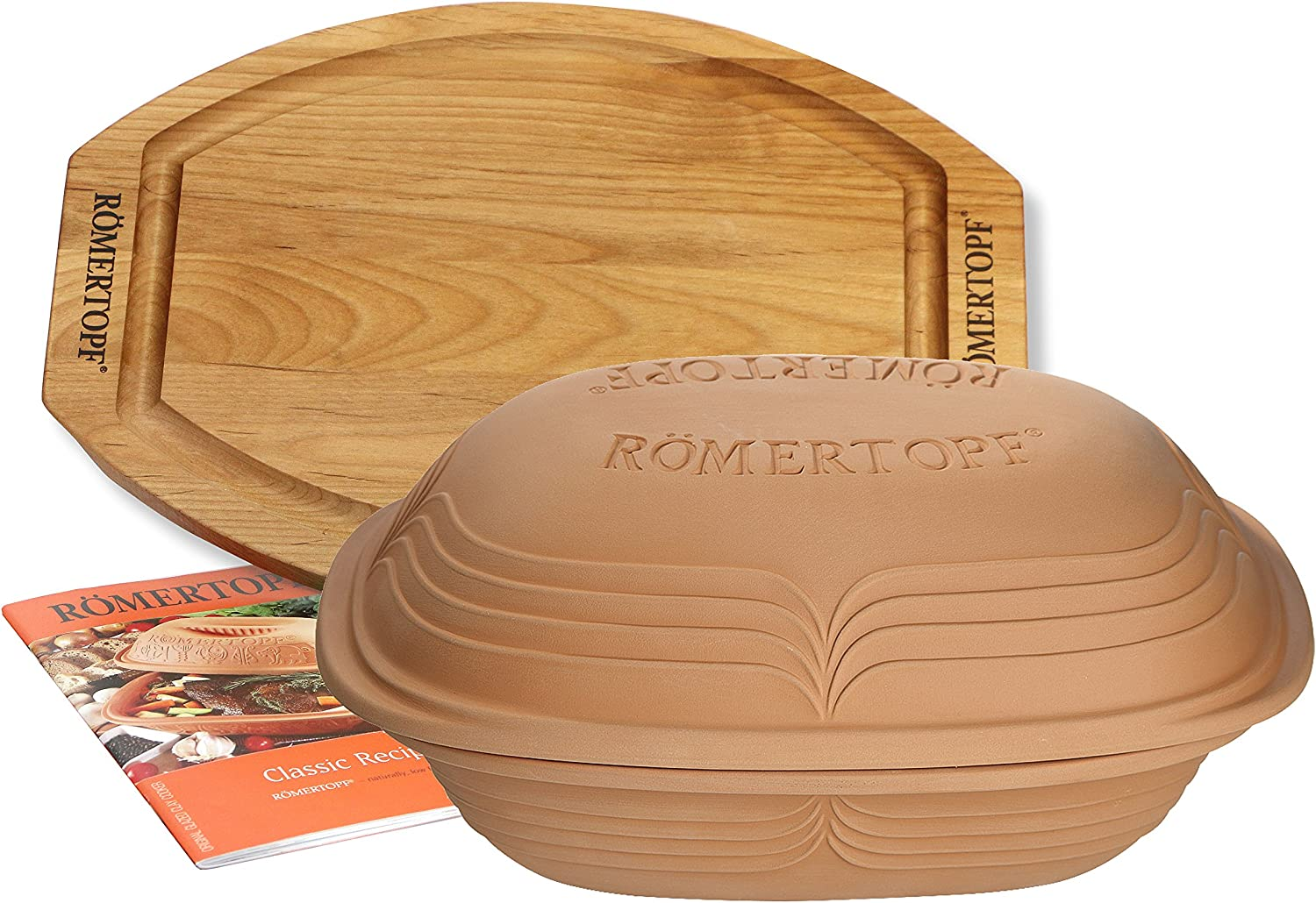 Romertopf by Reston Lloyd 4.1-Quart Modern Clay Cooker Set with Cutting Board and Cookbook