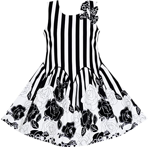Amazon Sunny Fashion Girls Dress Sleeveless Black White Stripes