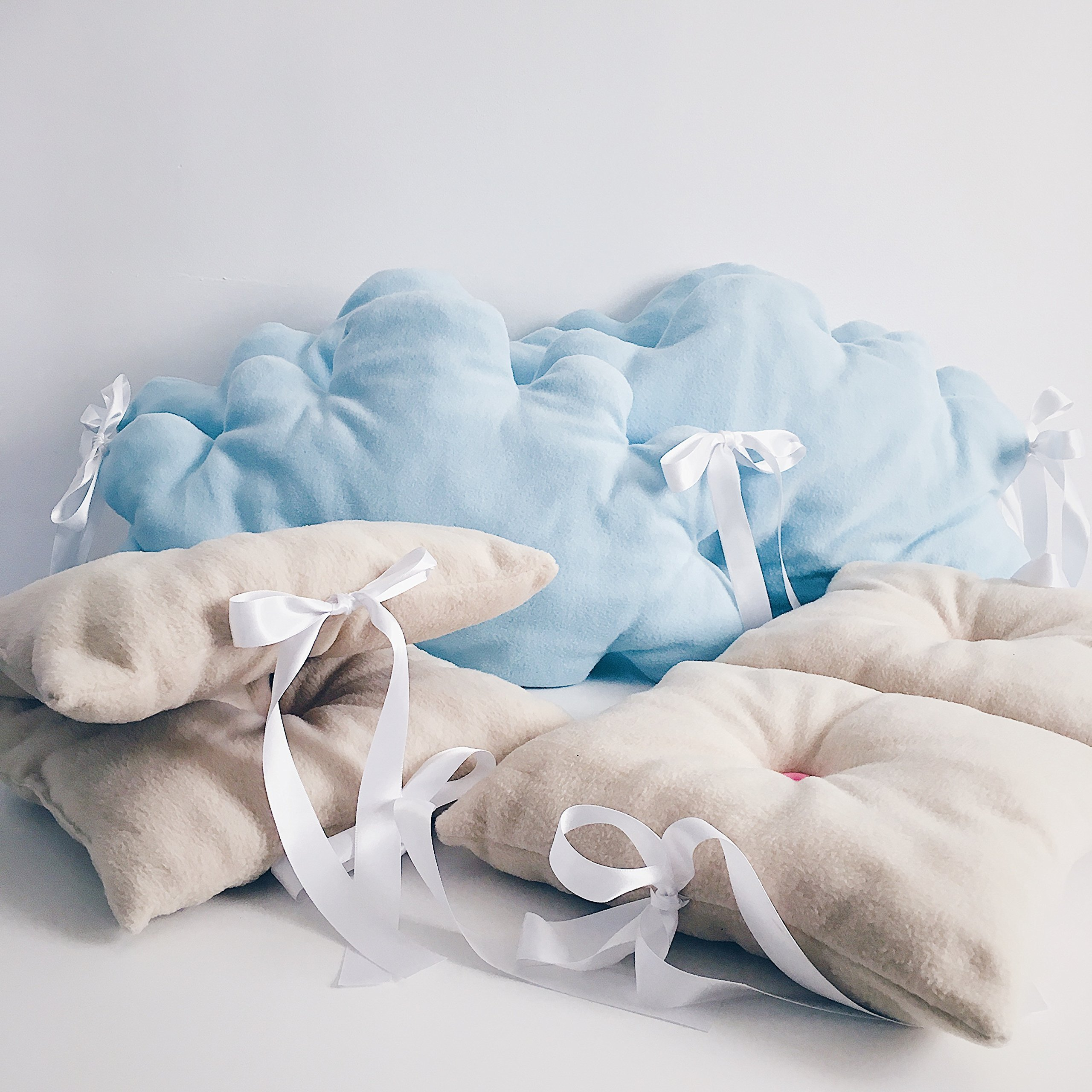 Baby crib lovely bedding set for girls and boys in light blue and beige