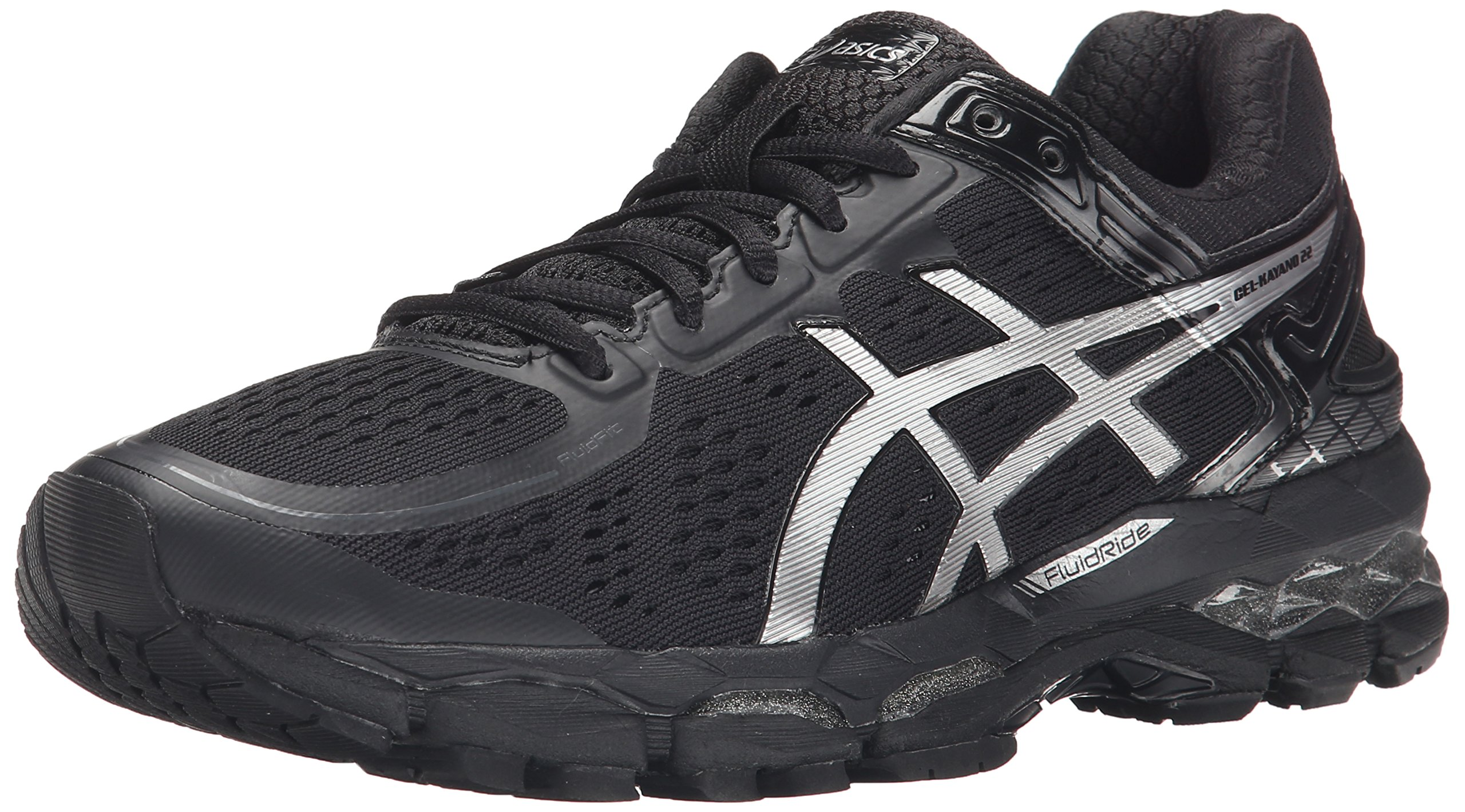 ASICS Women's Gel Kayano 22 Running Shoe, Onyx/Silver/Charcoal, 9.5 M US