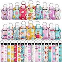 54 Pieces Empty Travel Bottles with Keychain Holder Set Include 18 Portable 1 oz Refillable Travel Bottle Container with Flip Cap 18 Reusable Bottle Holders 18 Wristlet Keychain (Egg Rabbit Pattern)