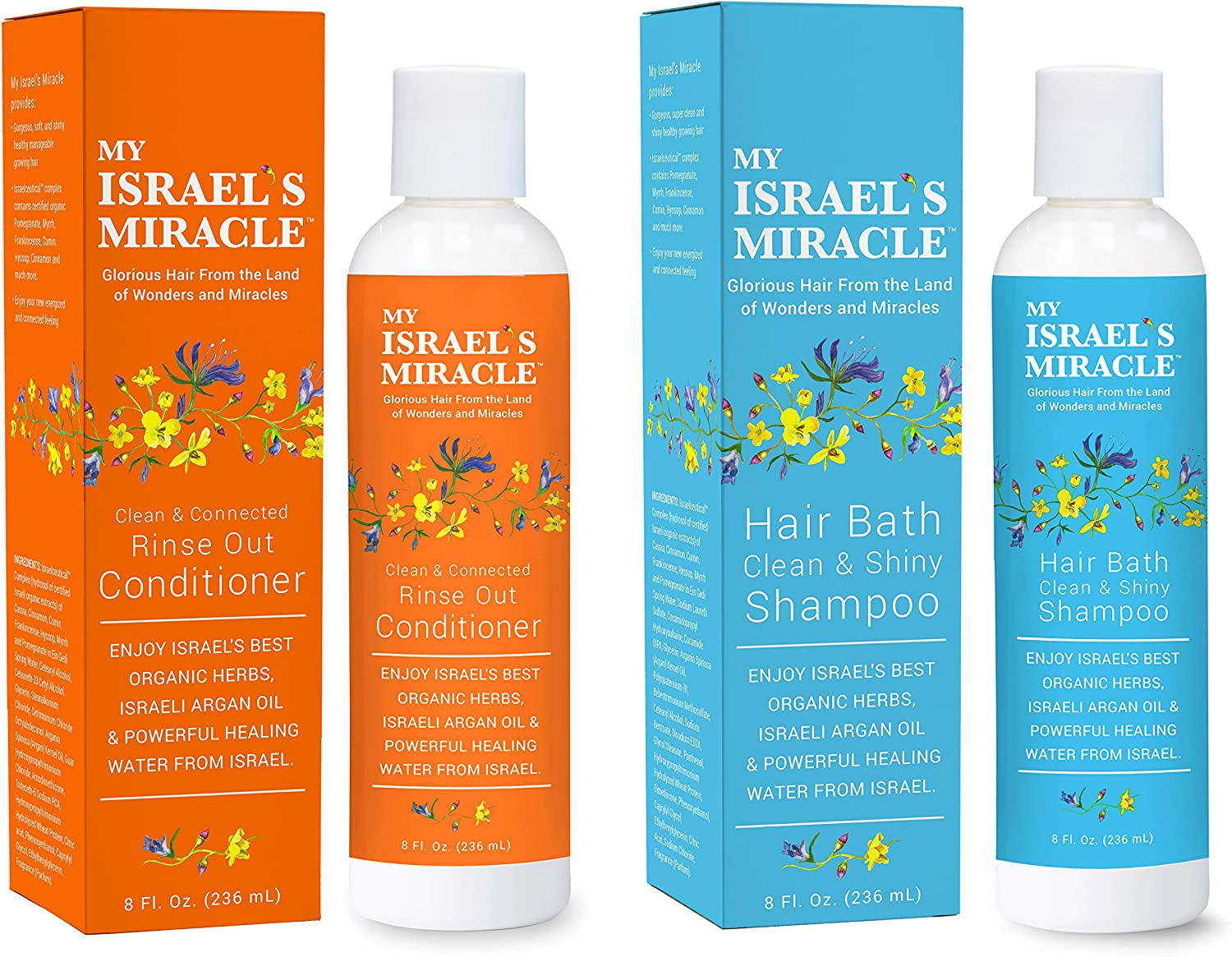 Organic Shampoo and Conditioner Set – Argan Oil Shampoo and Hair Conditioner - Herbal Hair Conditioner – Natural Hair Products with Powerful Organic Hair Care Herbs from Israel