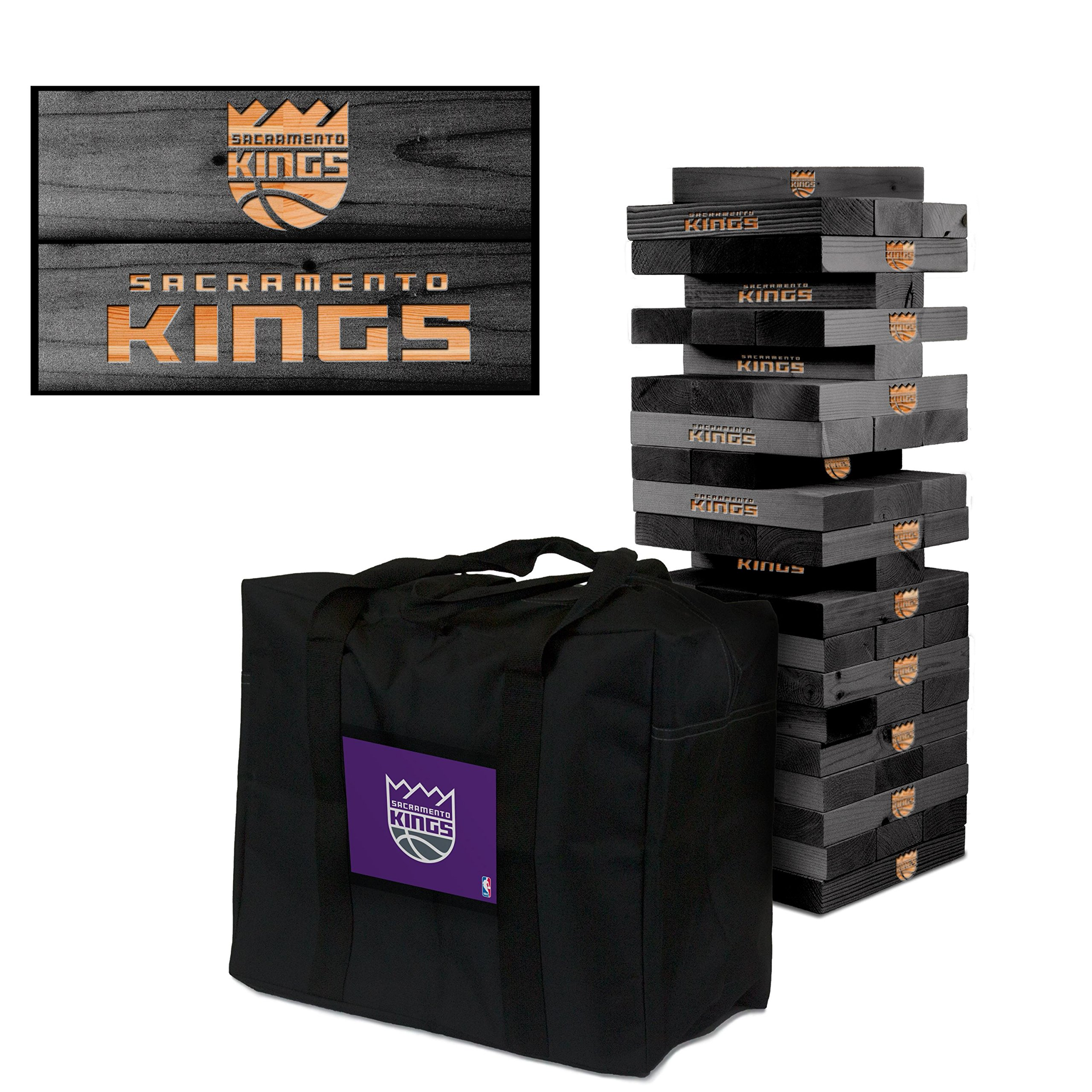NBA Sacramento Kings 852788Sacramento Kings Onyx Stained Giant Wooden Tumble Tower Game, Multicolor, One Size