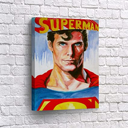 Superman Watercolor Realistic Paint CANVAS PRINT Wall Art Christopher Reeve Super Hero Home Decor Decoration Stretched