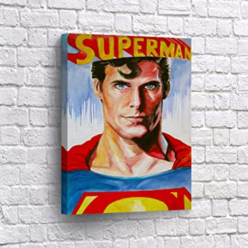 Amazon.com: Superman impresión de lona de Pared Arte ...