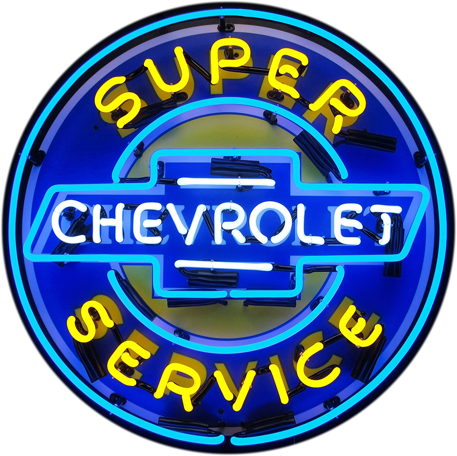 Neon Sign GM Chevy Super Chevrolet  Service on metal grid wall Dealership lamp