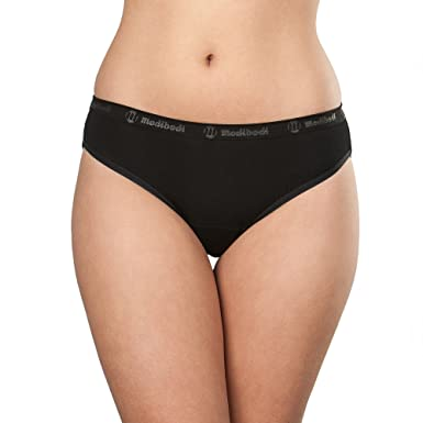 fe6bdd338 Modibodi Women s Period Menstrual and Incontinence Underwear in Heavy  Absorbency - Organic Classic Bikini Black (