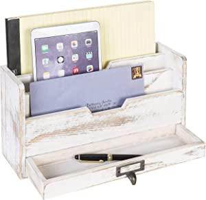 MyGift 3 Tier Shabby Whitewashed Wood Office Desk File Organizer Mail Sorter with Pull-Out Drawer