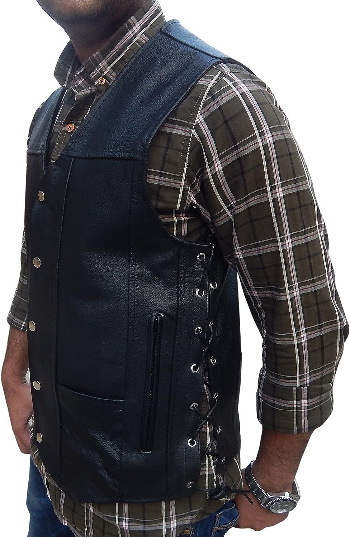 2Fit Mens Black Genuine Leather 10 Pockets Motorcycle Biker Vest New S To 9XL