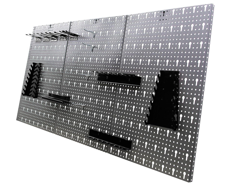 Ondis24 Werkzeugwand 121,5 x 60 cm mit 22-teiligem Hakensortiment Lochwand Werkstatt aus Metall