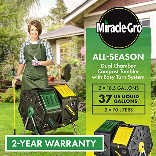 Miracle-Gro Dual Chamber Compost Tumbler – Outdoor Bin with Easy-Turn System, 2 Sliding Doors, Sturdy Steel Frame – All Season Composter, BPA-Free + ...