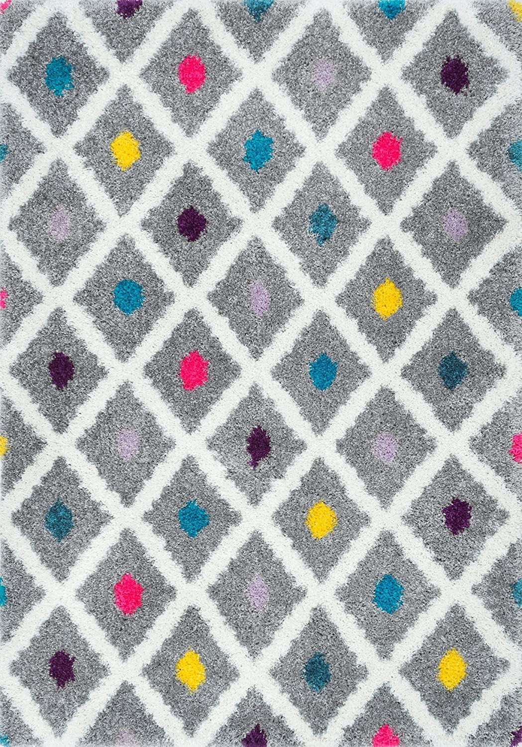 Grey rug with diagonal white lines and colorful dots.