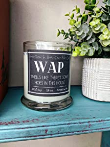 WAP Smells Like There's Some Hoes in this House Candle | 18 oz amber glass jar | Bombshell perfume candle | Sexy Candle | Funny gift