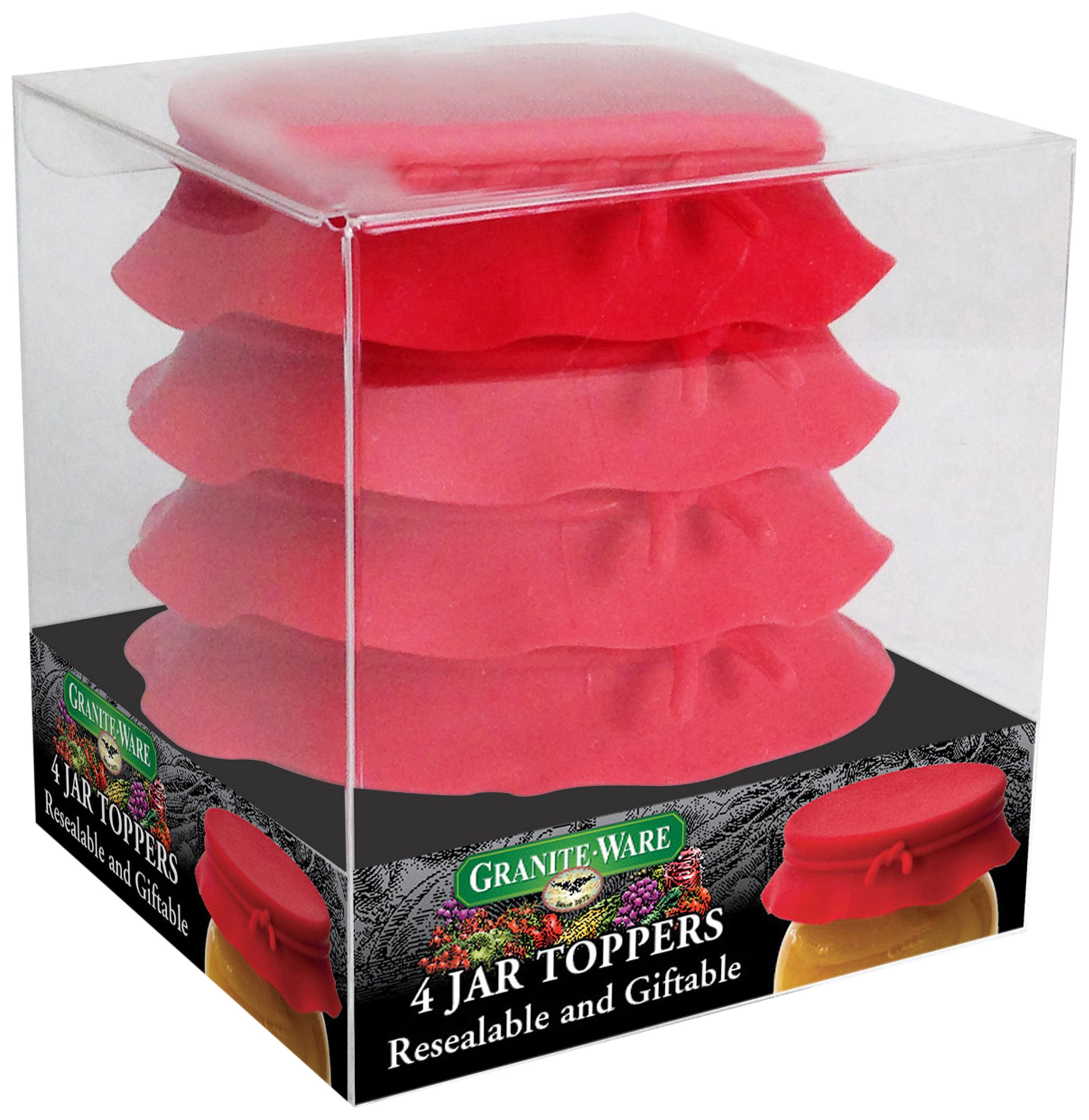 Granite Ware Silicone Jar Toppers, Red, Set of 4
