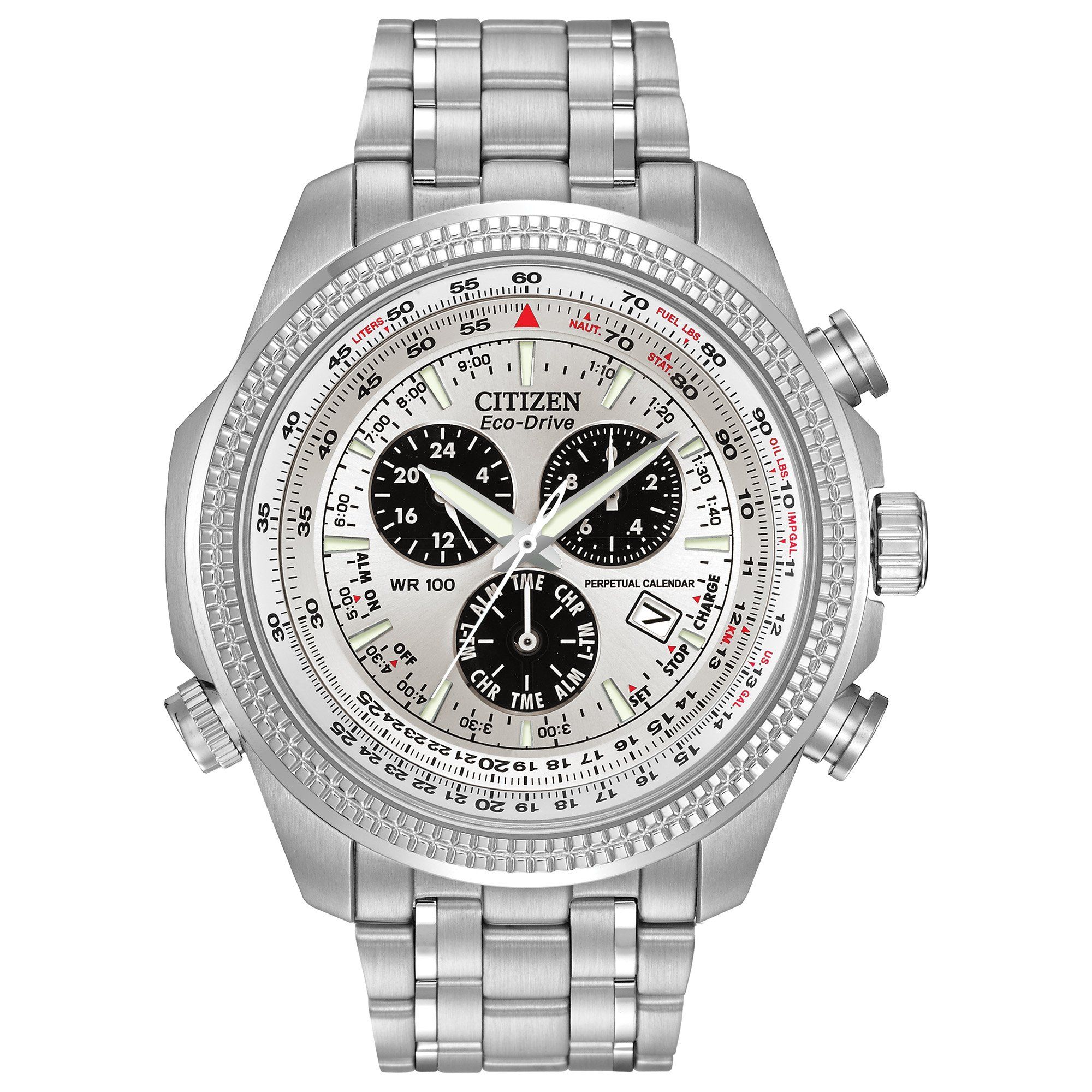 Citizen Men's Eco-Drive Chronograph Watch with Perpetual Calendar and Date, BL5400-52A