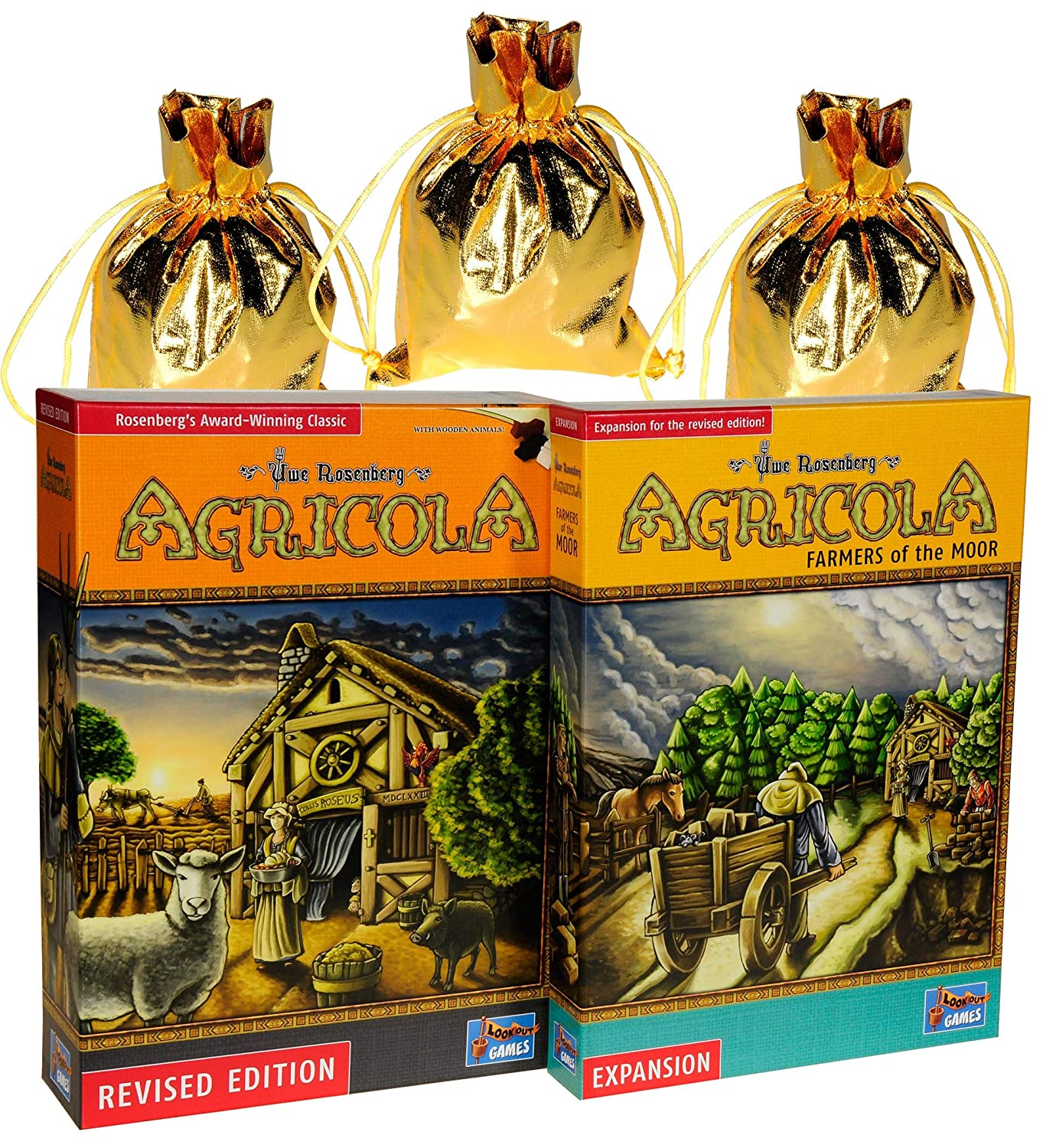 Bundled Items LookoutG Agricola Game Revised Edition Farmers The Moor Expansion Bonus 3 Gold Metallic Cloth Drawstring Storage Pouches