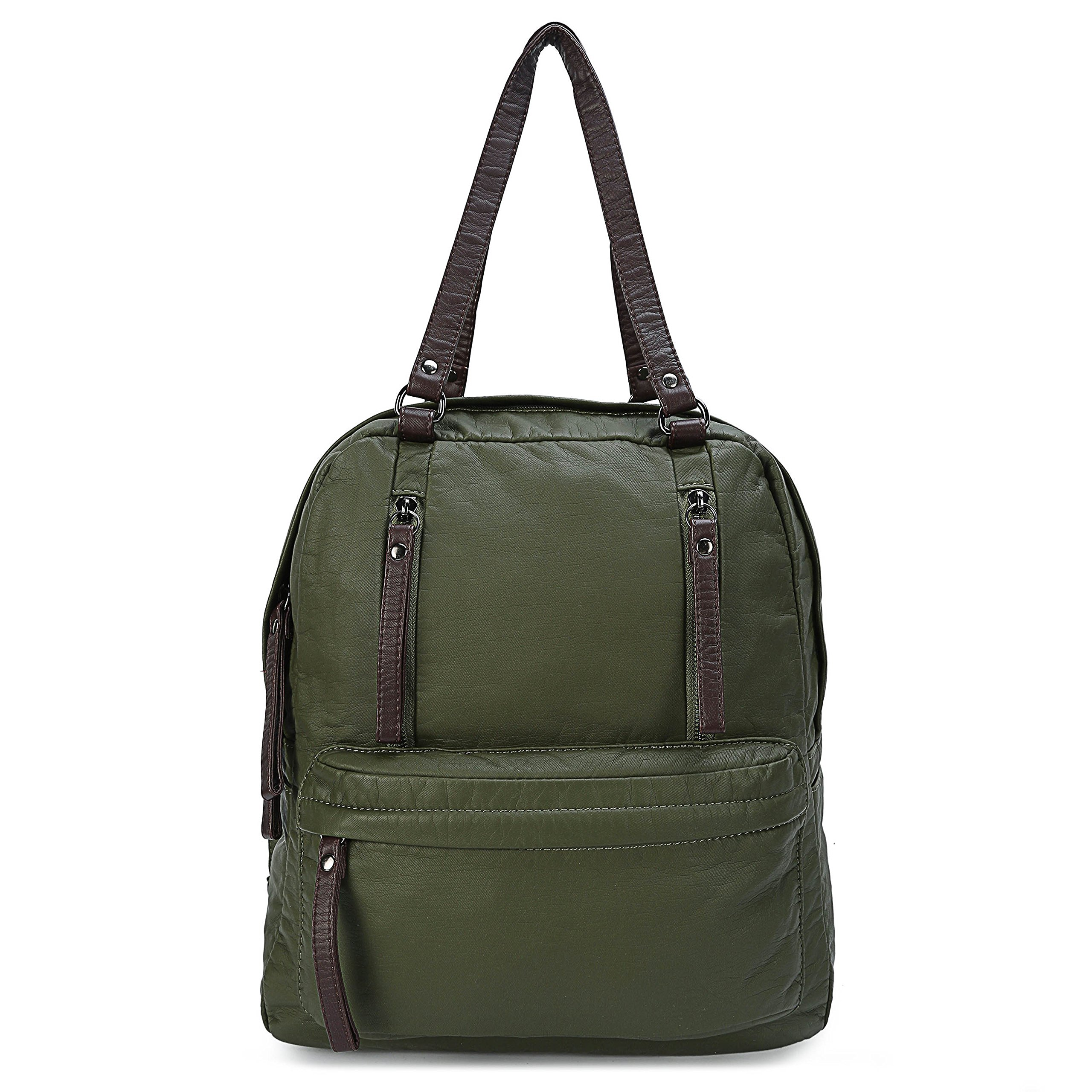 Convertible Backpack Purse for Women Small Soft Leather Travel Bag for Ladies Shoulder Bag Army Green