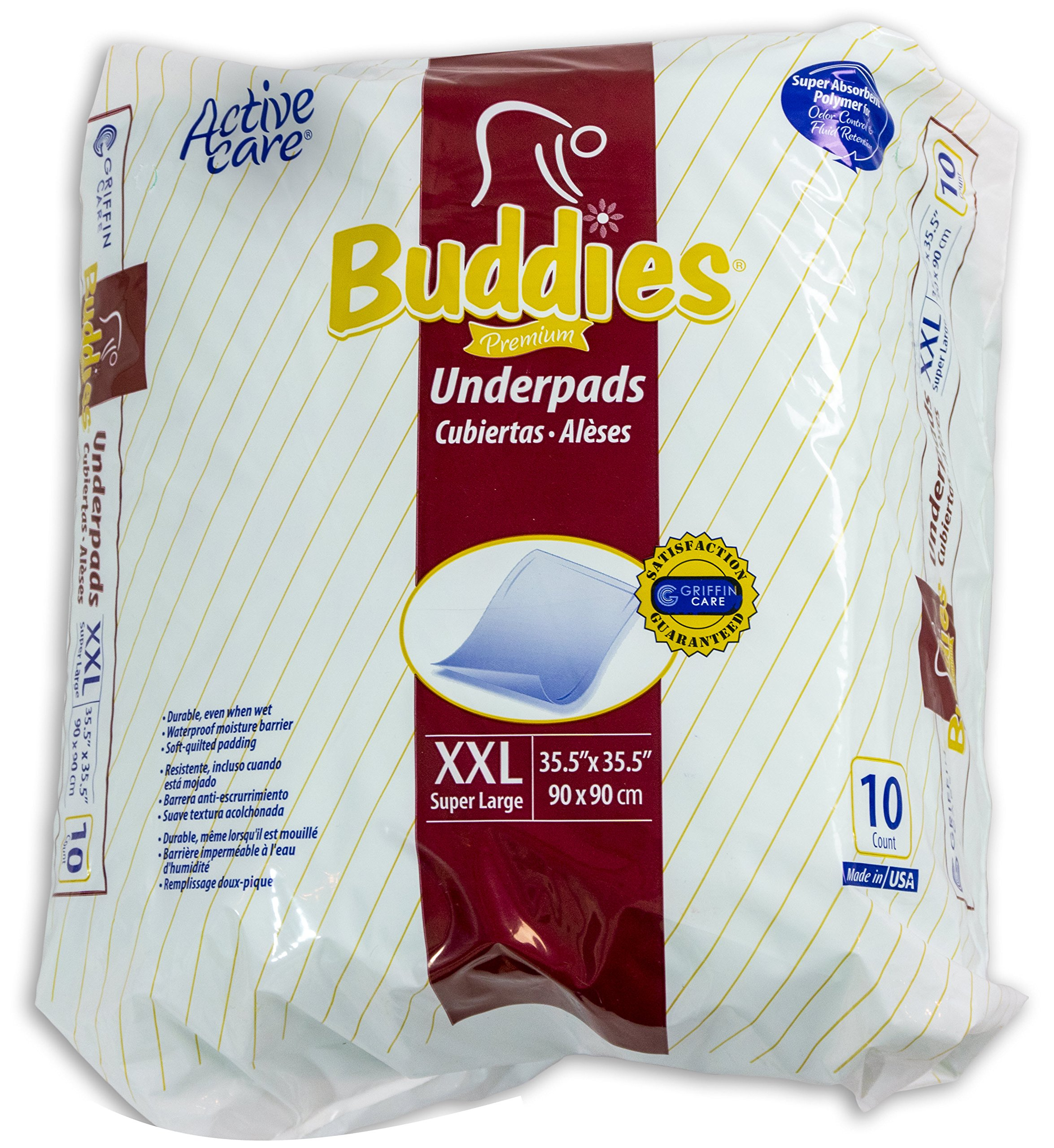 Extra Large Chux Pads 36 x 36 Disposable - Incontinence Waterproof Underpad for Adult, Child, Or Pets by Buddies