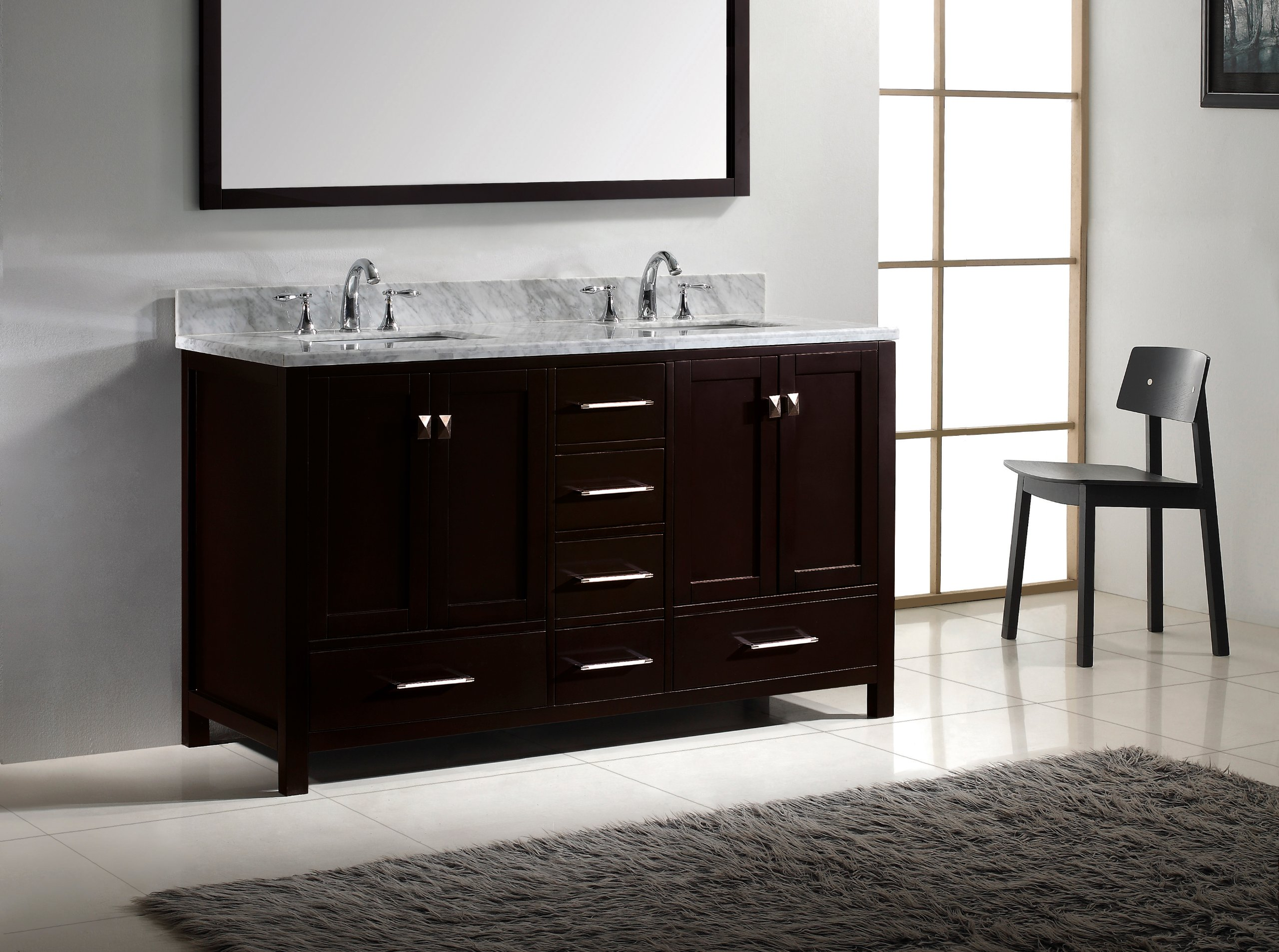 Virtu USA GD-50060-WMSQ-ES Caroline Avenue 60-Inch Bathroom Vanity with Double Square Sinks in Espresso and Italian Carrara White Marble