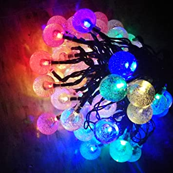 Sogrand 60LED 36FT,Solar String Lights,4Color Crystal Ball,Solar Lights  Outdoor,