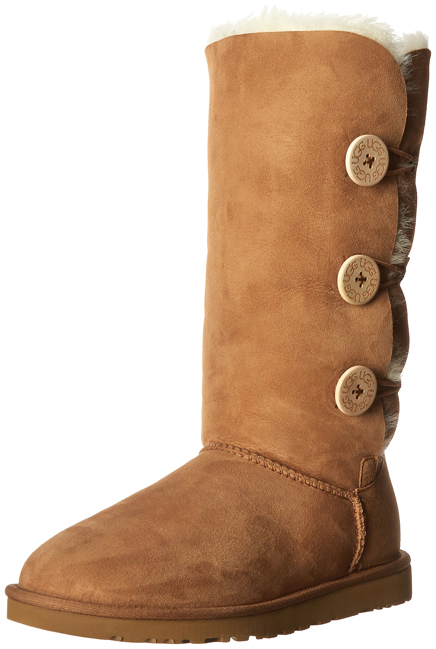 UGG Women's Bailey Button Triplet Chestnut Sheepskin 9 B - Medium