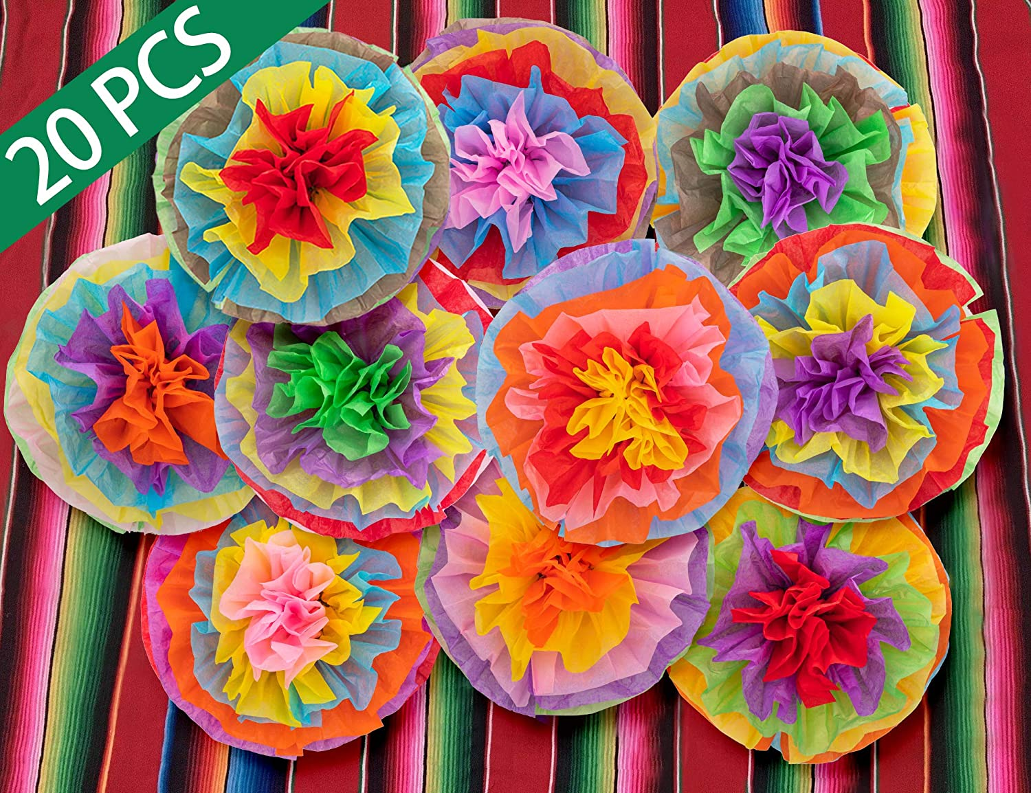 Decorations Mexican Tissue Pom Paper Flowers