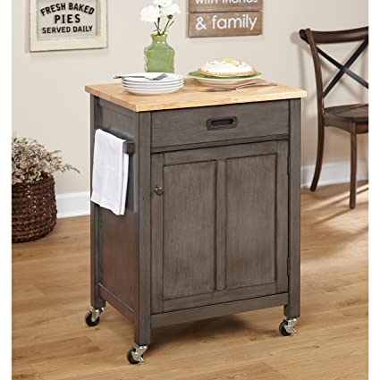 Amazon.com - Small Mobile Kitchen Cart with Casters, Wooden ...