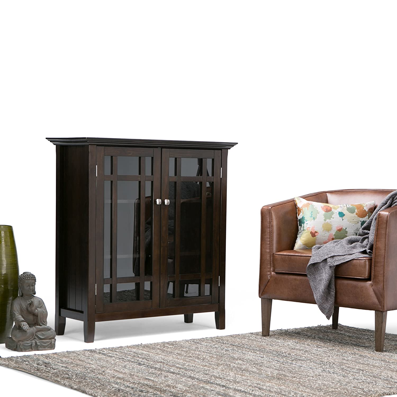 Amazon.com: Simpli Home Bedford Solid Wood Medium Storage, Dark ...