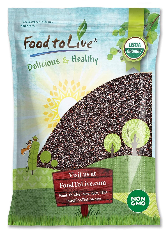 Organic Black Quinoa, 10 Pounds - Whole Grain, Non-GMO, Kosher, Vegan, Raw, Sproutable, Sirtfood, Bulk