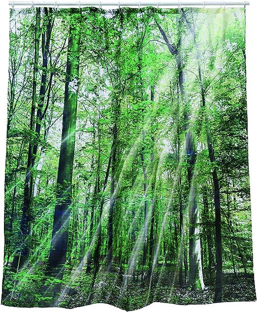 dise/ño Bosque Multicolor 180 x 180 x 1 cm ootb Cortina de Ducha