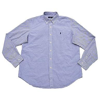 e7d56cb1 Polo Ralph Lauren Men's Plaid Poplin Sport Shirt (XL, White Blue ...
