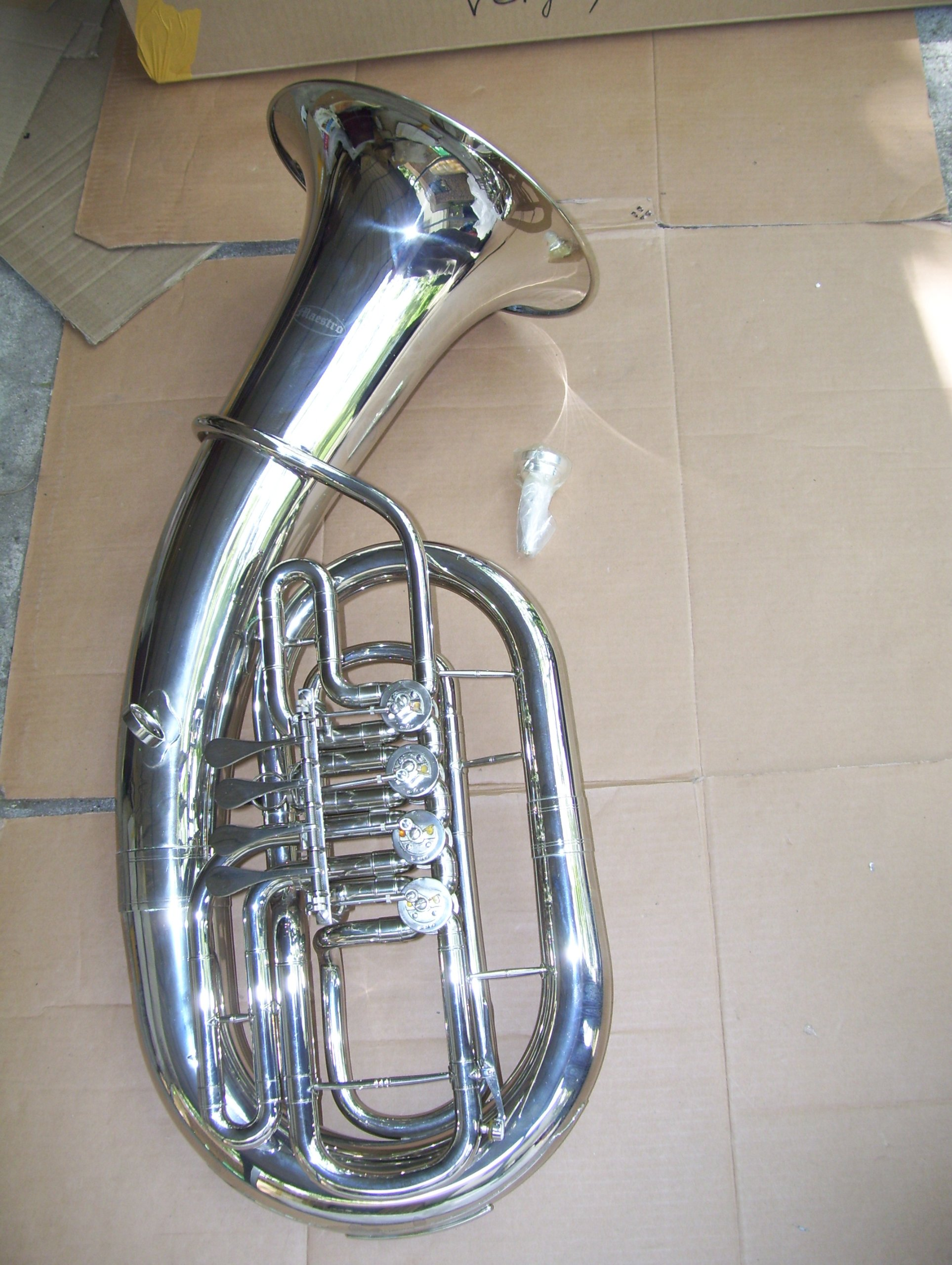 Euphonium with hard case and mouthpiece, 4 rotary valve, silver