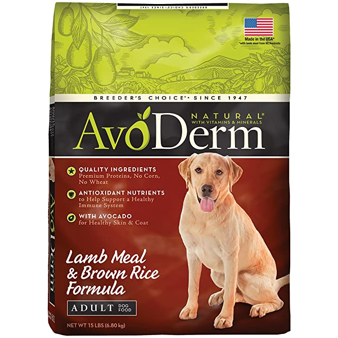 AvoDerm Small Breed Senior Health+ Grain Free Lamb Meal Dry Dog Food, 4-Pound