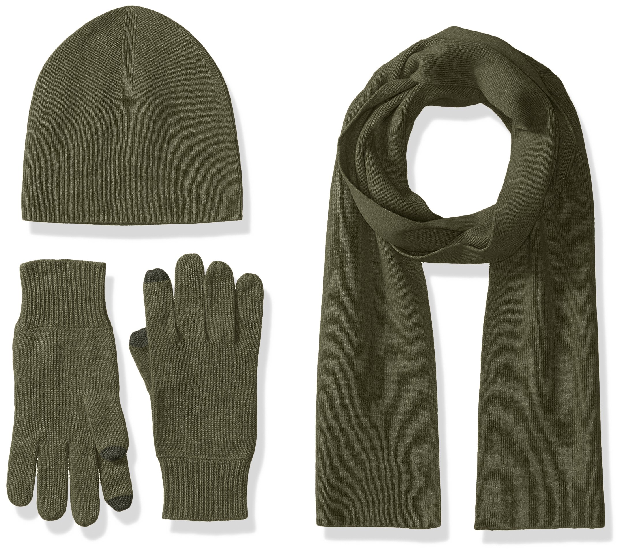 Williams Cashmere Men's 3pc Value Gift Box Set - Men's Texting Gloves, Hat, & Scarf, new olive, One Size