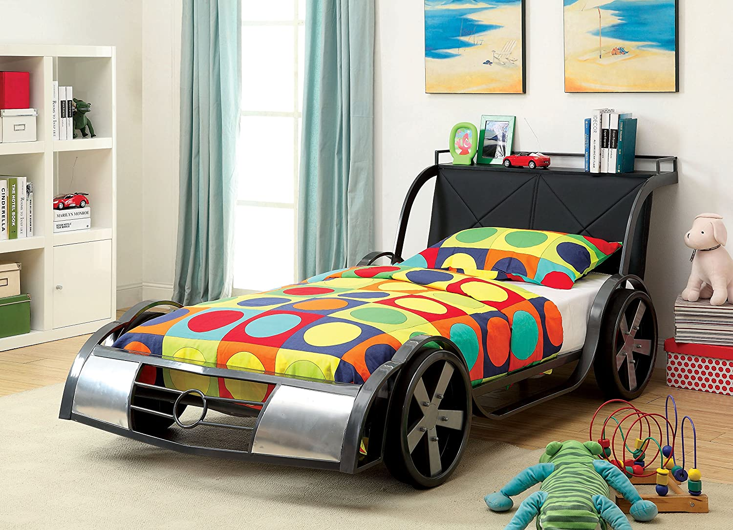 Cool racing car bedroom furniture for kids for Boy car bedroom ideas