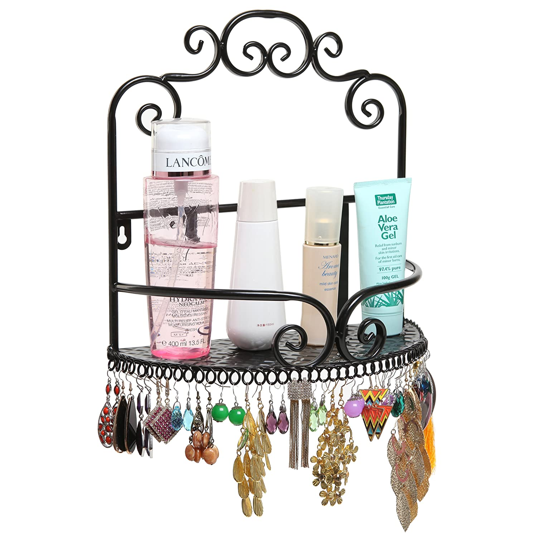Amazon.com: Decorative Wall Mounted Cosmetics Storage Display Shelf Rack  With Earring Organizer: Home U0026 Kitchen