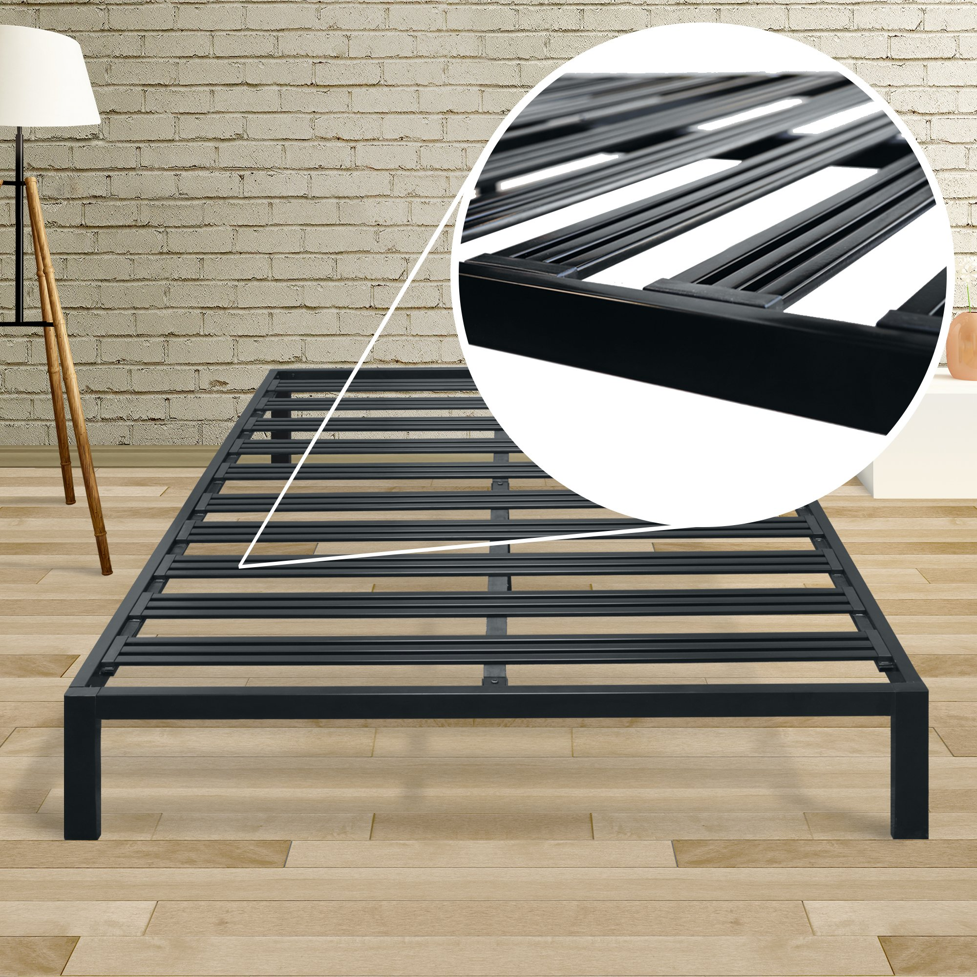 Mellow Rocky Base C (Twin) - Modern Metal Platform Bed/ Heavy Duty Steel Slats/ No Box Spring Needed/ Quick and Easy Assembly, Black by Mellow