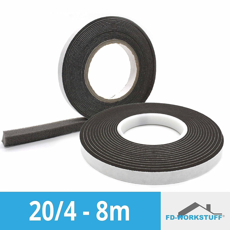 Kompriband 20/4 anthrazit 8 m Rolle, Bandbreite 20mm, expandiert von 4 auf 20mm, Fugendichtband, Komprimierband FD-Workstuff
