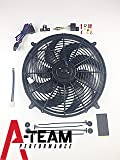 "A-Team Performance 180081 16"" Heavy Duty 12V Radiator Electric Wide Curved 8-Blade FAN & Thermostat Kit, 3000 CFM Reversible Push or Pull with Mounting Kit"