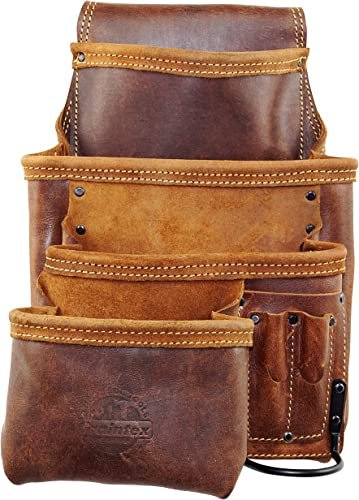 GRAINTEX AS2531 Ambassador Series 10 Pocket Left-Handed Framers Tool Pouch Top Grain Leather for Framers, Constructors, Electricians, Plumbers, Handyman