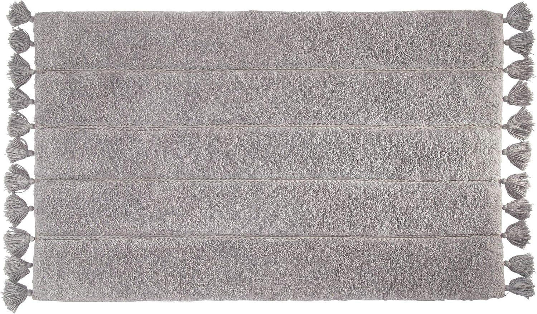 iDesign Tassel Alfombrilla de baño Suave, Alfombra Rectangular de algodón, Gris, 53.3 Cm X 86.4 Cm: Amazon.es: Hogar