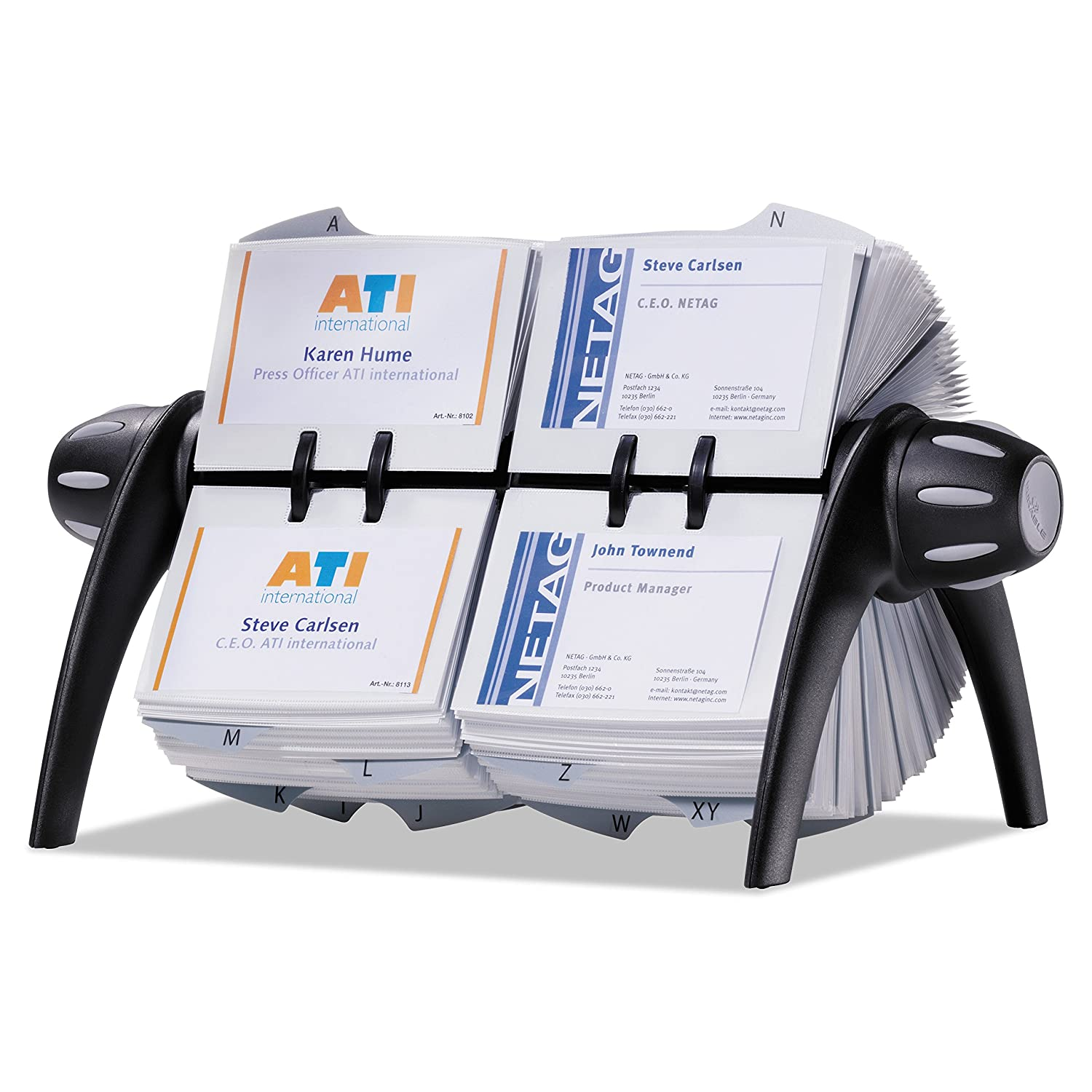 241201 500 Double-Sided Cards Black Desk Address Card File DURABLE TELINDEX 25 Alphabetical Dividers