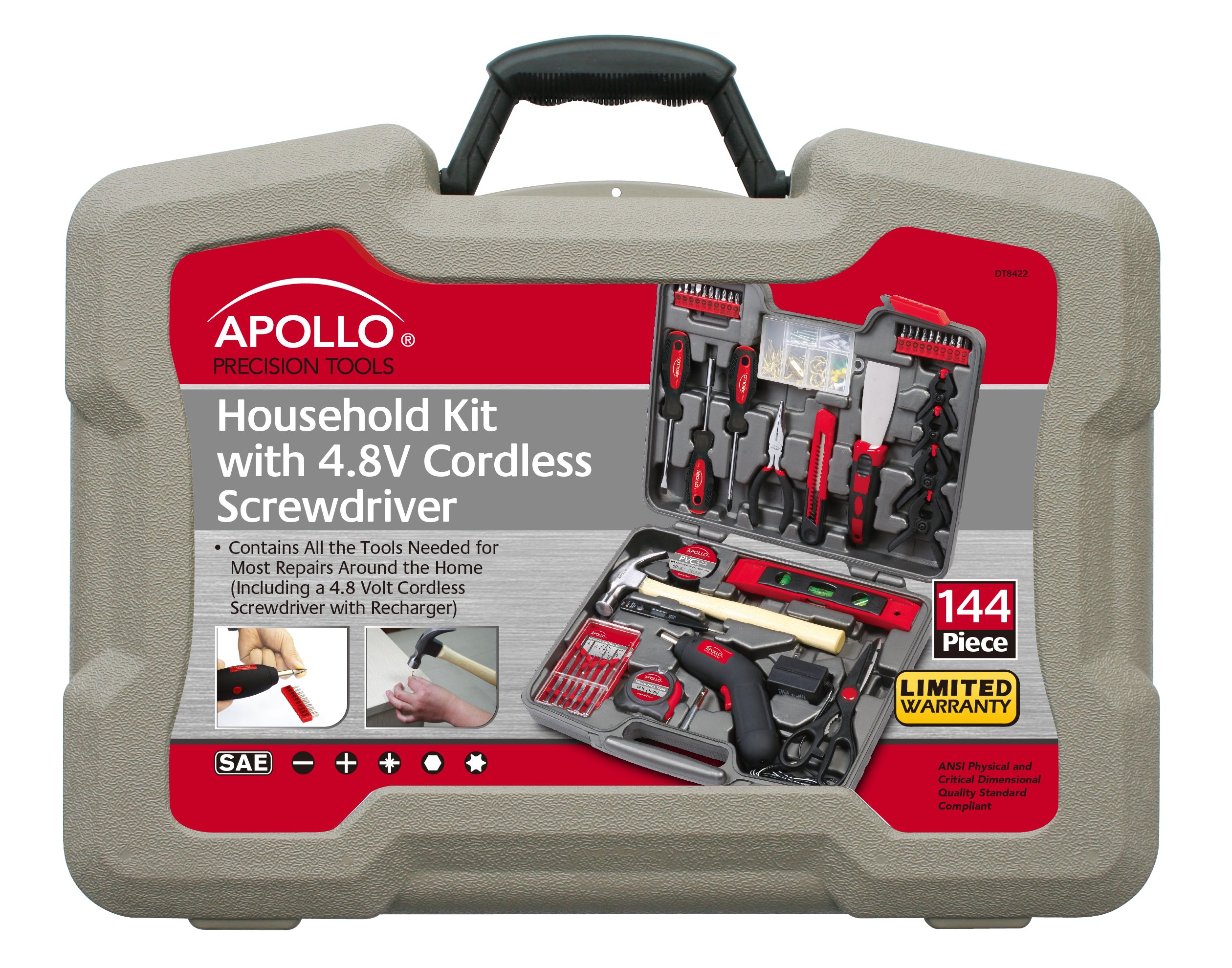 Apollo Tools DT8422  144-Piece Household Tool Kit with 4.8-Volt Cordless Screw driver