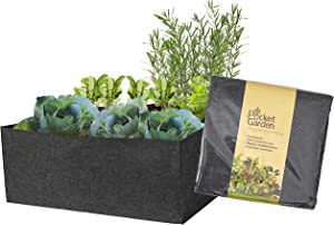 Pocket Garden Fabric Raised Bed Planter - Felt Container 36 x 36 Inches Nonwoven Materials, Perfect For Growing Plants, Flowers And Vegetables - For Small Space Balcony - Rectangle Size (Pack of 1)