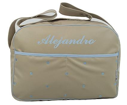 Maxi bolso para carrito de bebé BORDADO CON EL NOMBRE en ecopiel arena: Amazon.es: Bebé