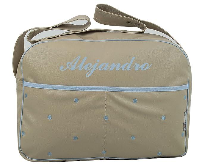 Maxi bolso para carrito de bebé BORDADO CON EL NOMBRE en ecopiel arena