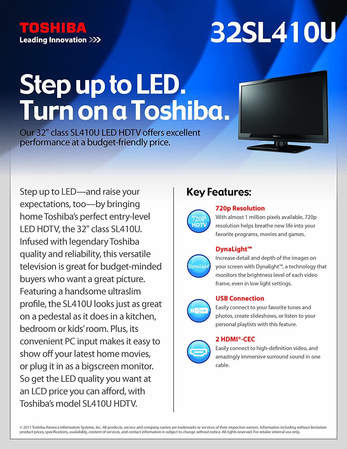 amazon com toshiba 32sl410u 32 inch 720p 60hz led lcd hdtv black rh amazon com Toshiba TV Owners Manual For Toshiba TV Manuals