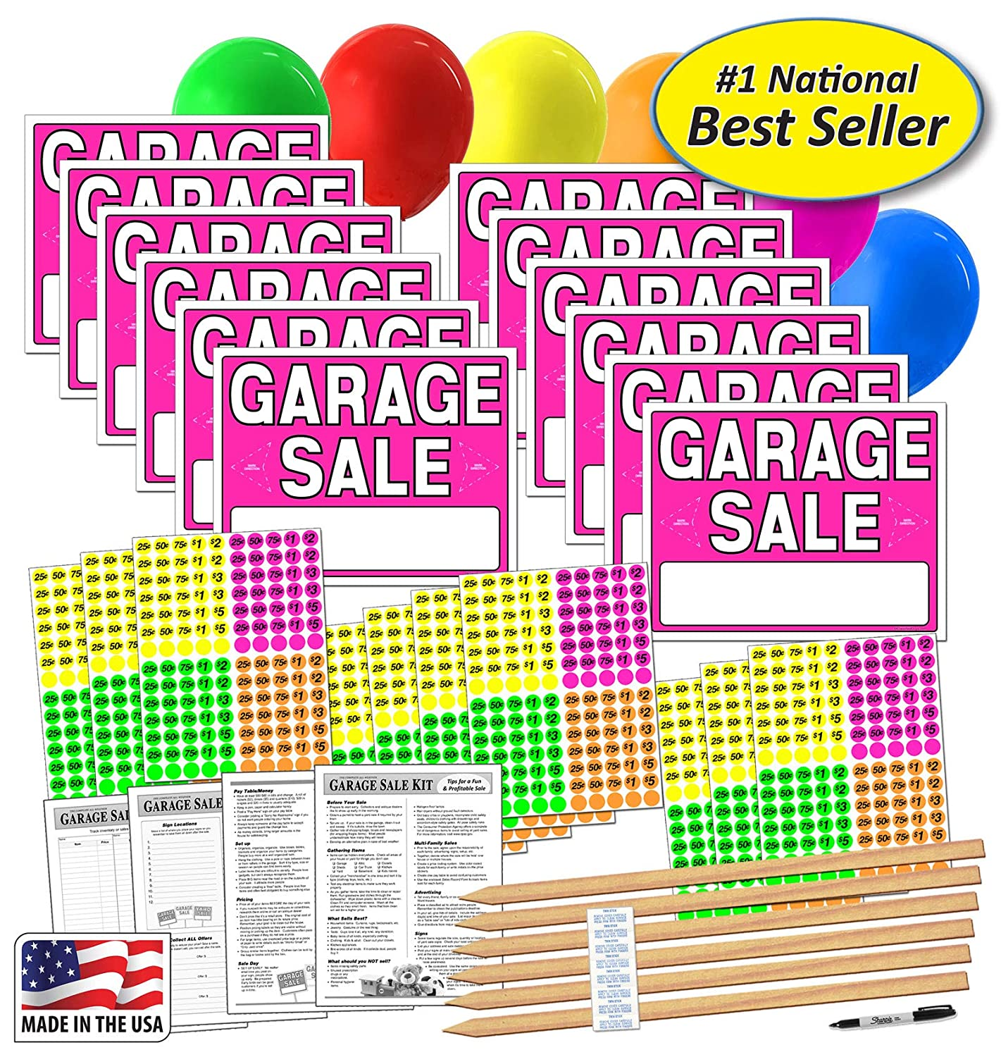 "Amazon.com: Letrero de ""Garage Sale"" con etiquetas ..."